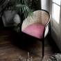 Cavallo Armchair, Pink Velvet with Black Lacquered Frame