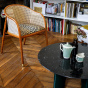 Carlotta Coffee Table, Black Marble Top and Green Legs