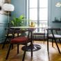Milano Chair, Plum-Colour Velvet with Brown Frame