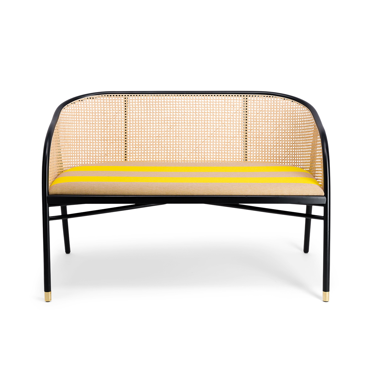 Cavallo Sofa, Kvadrat / Raf Simons Yellow Wool with Black Lacquered Beechwood Frame - Limited Edition