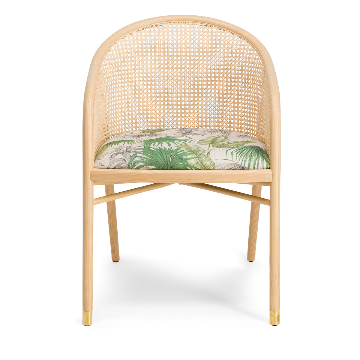 Cavallo Armchair, Banana Tree Print with Natural Frame