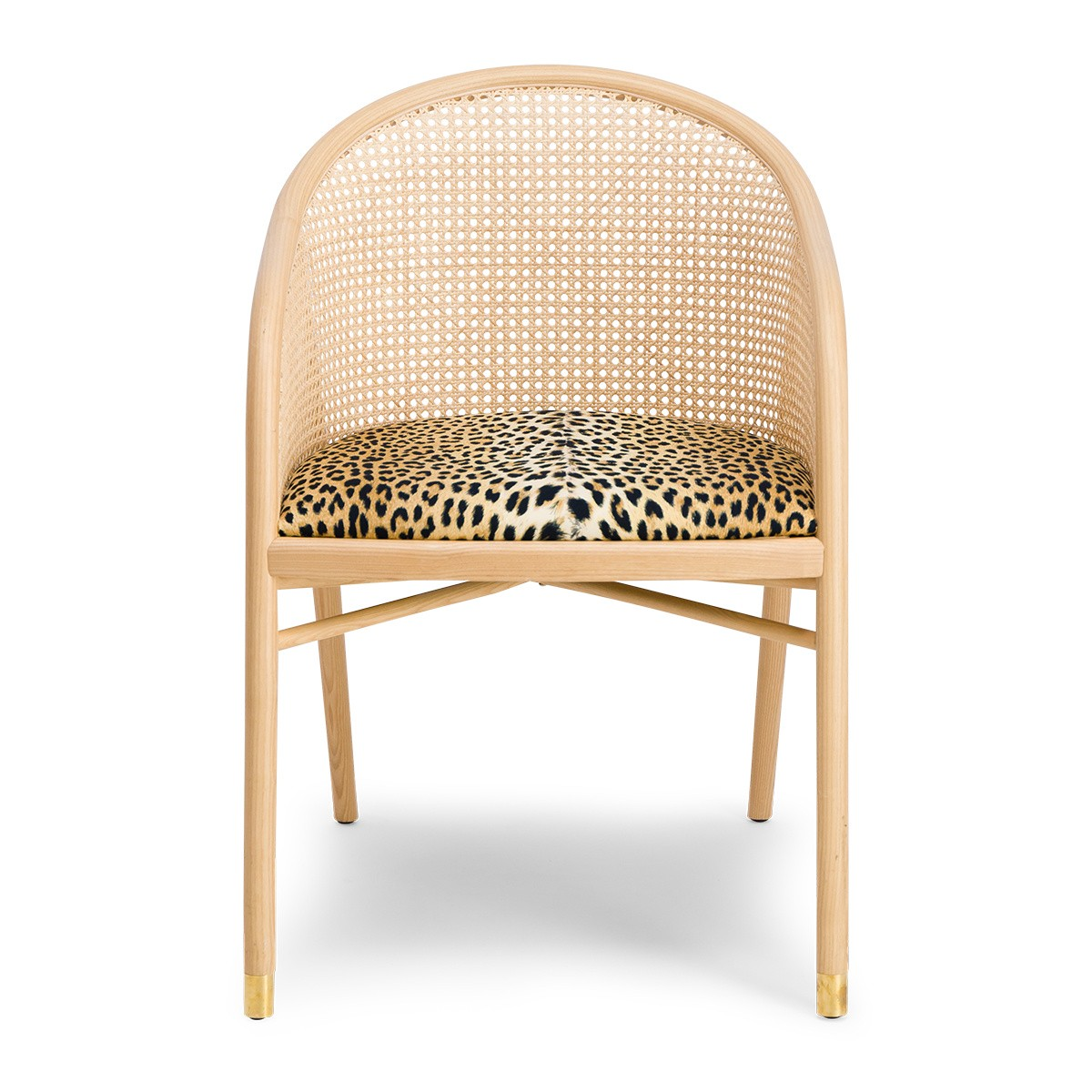 Cavallo Armchair, Panther Print with Natural Frame