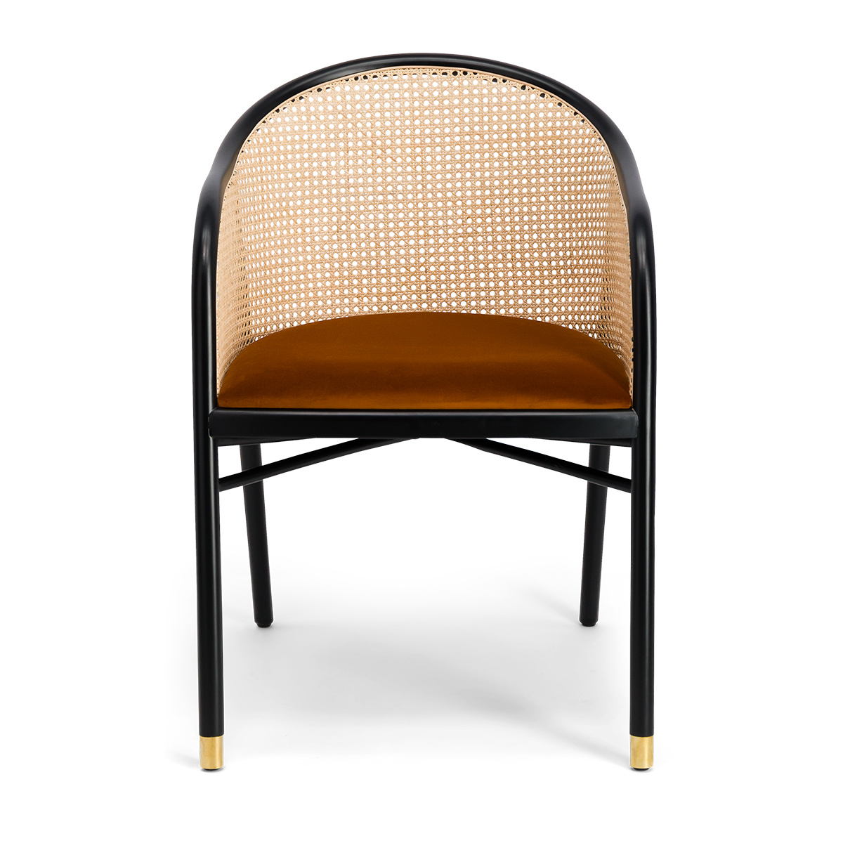 Cavallo Armchair, Brick Red Velvet with Black Lacquered Frame
