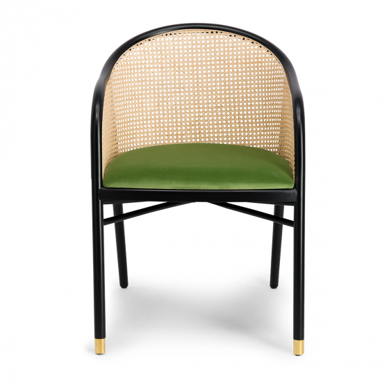 Cavallo Armchair, Almond Green Velvet with Black Lacquered Frame