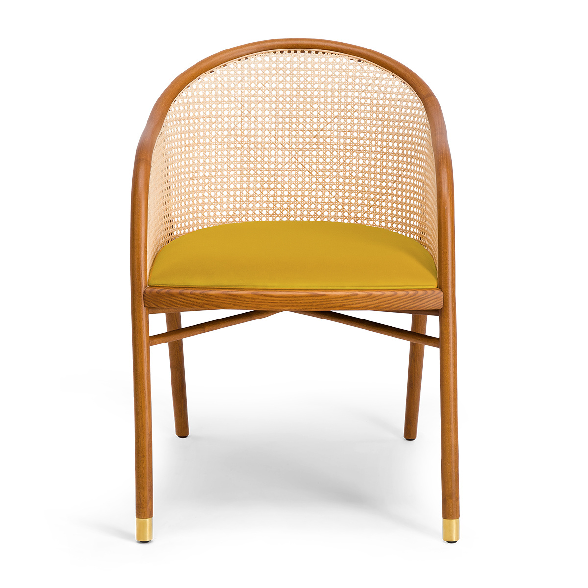Cavallo Armchair, Yellow Velvet with Cherrywood Frame