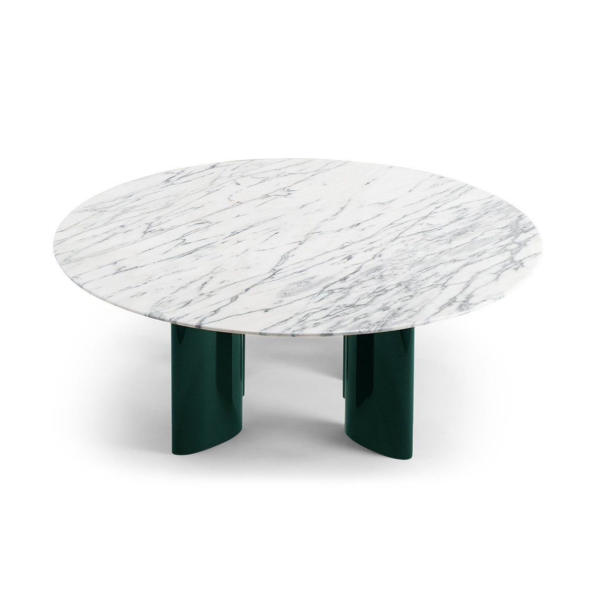 Carlotta Coffee Table, White Marble Top and Green Legs
