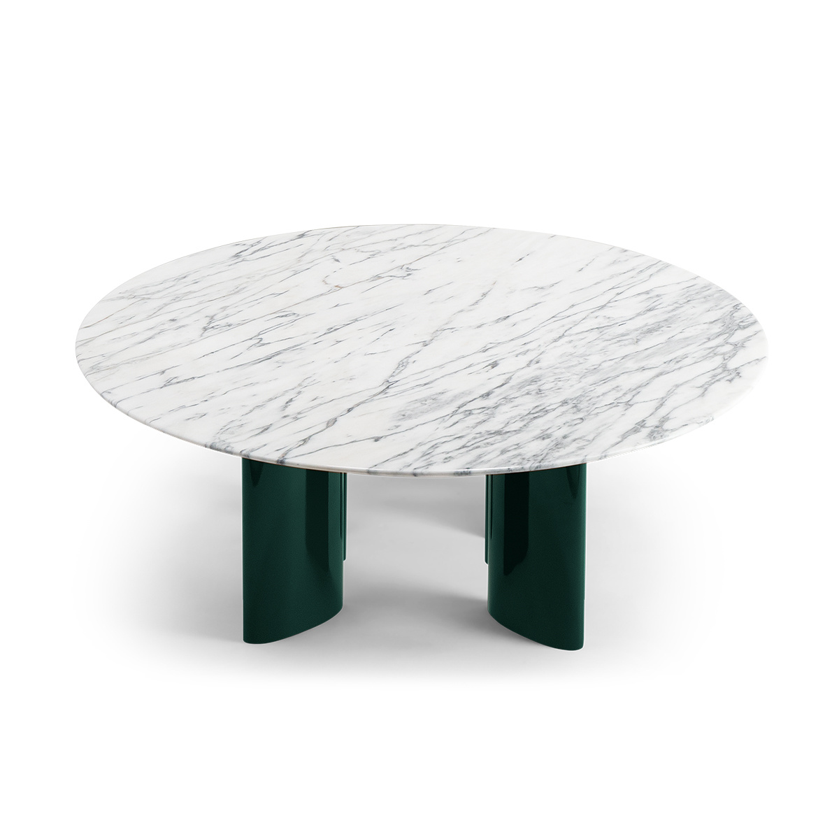 - Carlotta Coffee Table, White Marble Top And Green Legs