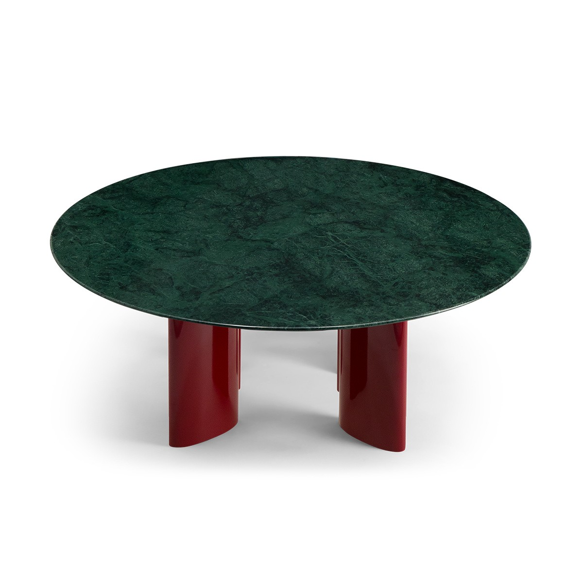 Carlotta Coffee Table, Green Marble Top and Red Legs
