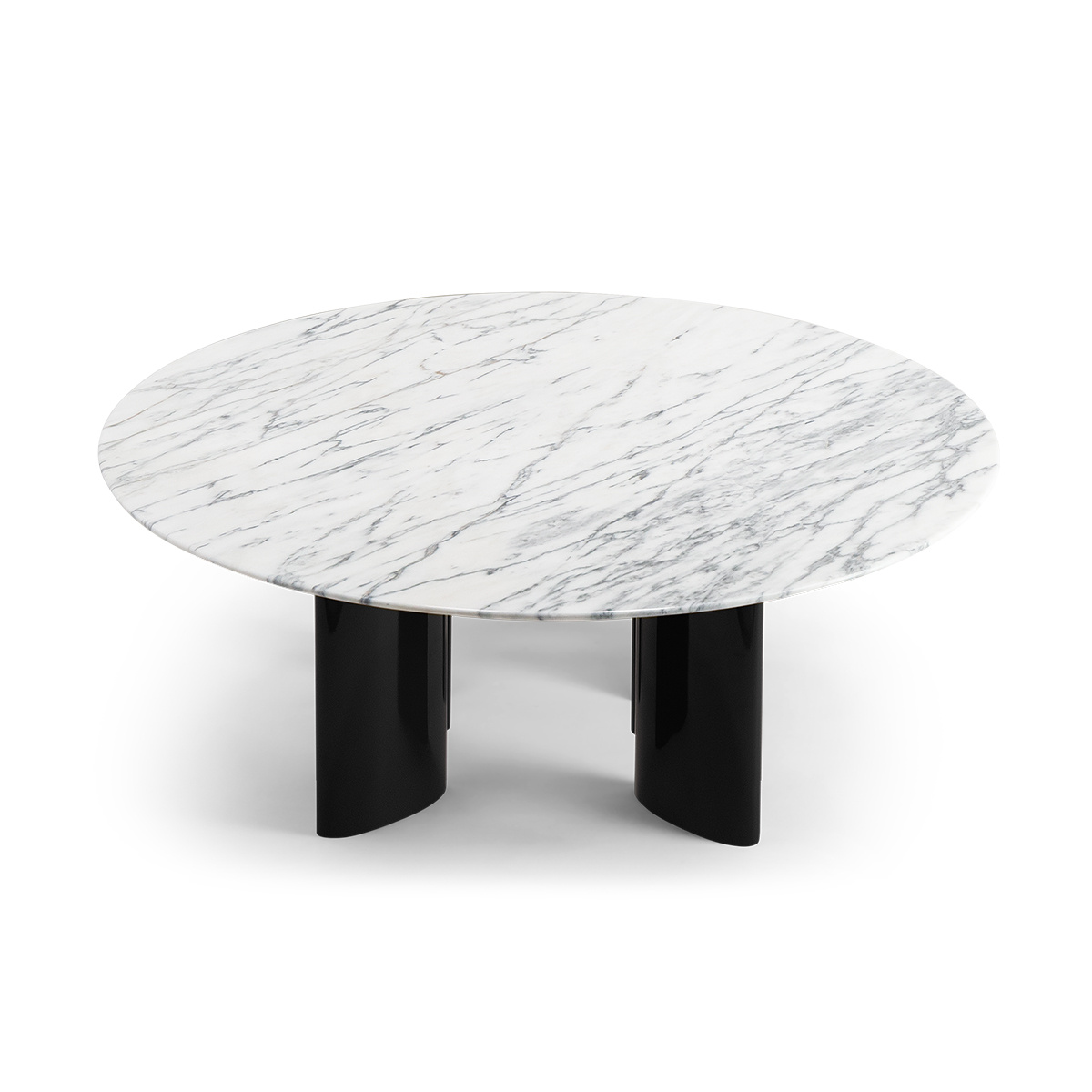 Carlotta Coffee Table White Marble Top And Black Legs