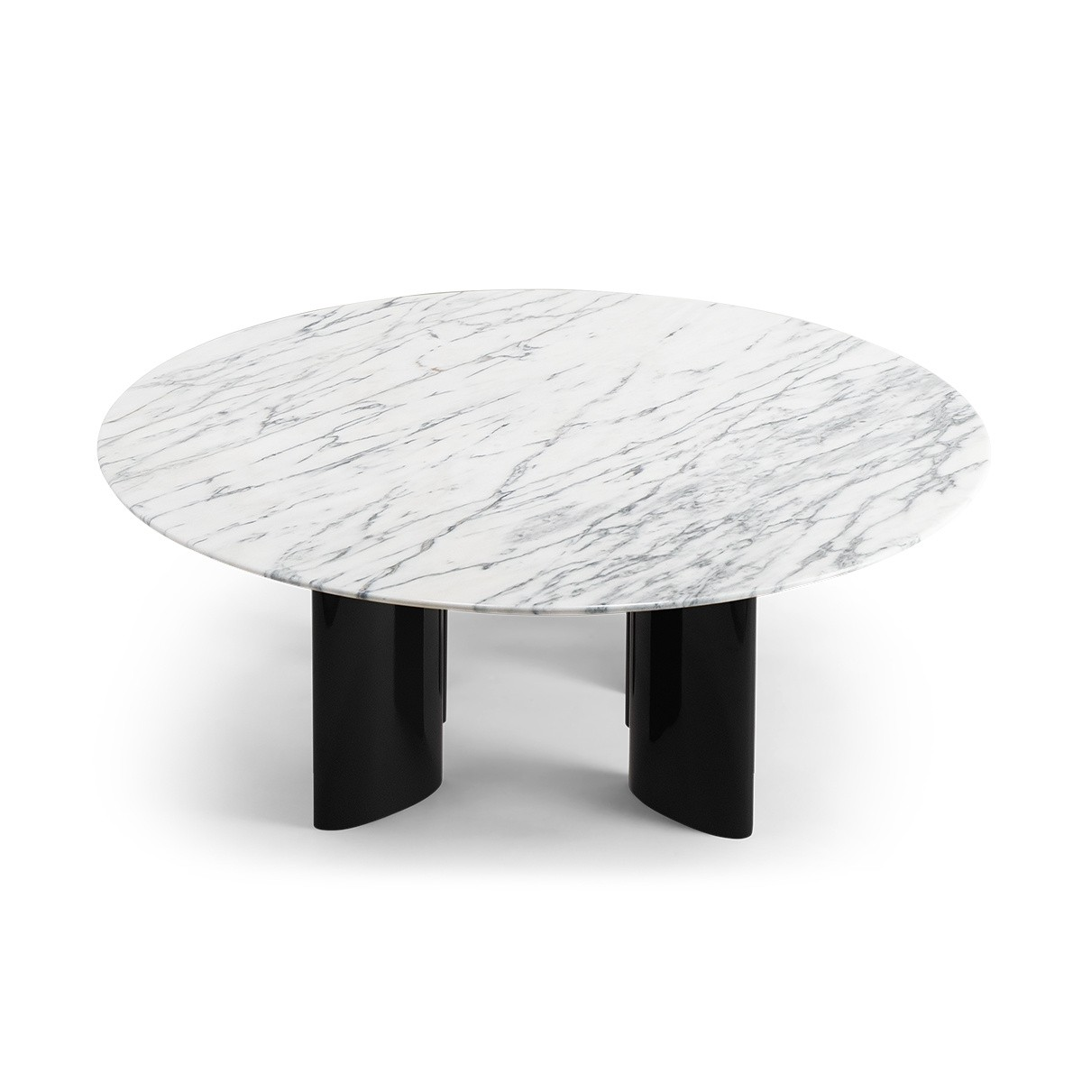 Carlotta Coffee Table, White Marble Top and Black Legs