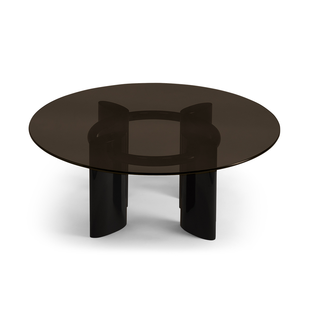 Coffee Table With Black Lacquered Legs And Smoked Glass Top Carlotta The Socialite Family