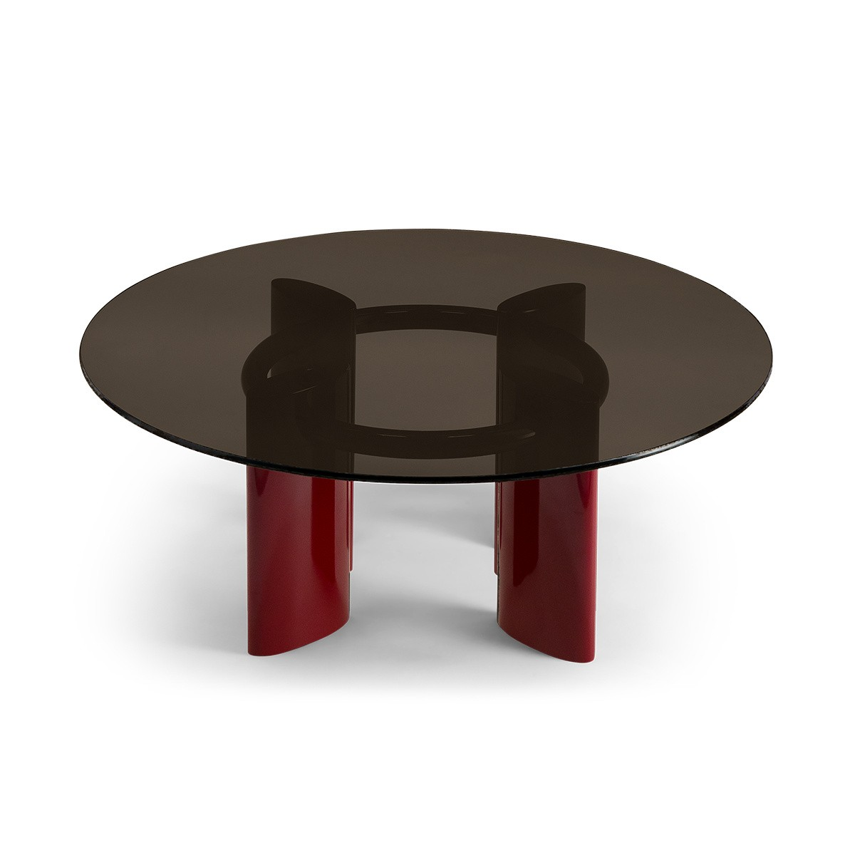 Carlotta Coffee Table, Smoked Glass Top and Red Legs