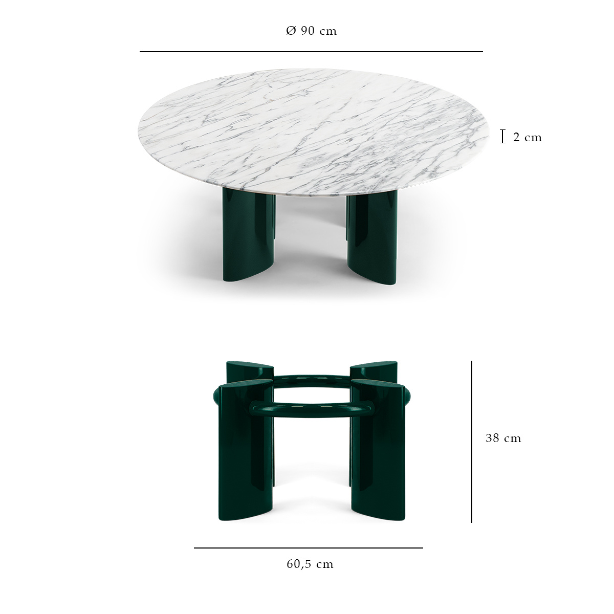 Carlotta Coffee Table White Marble Top And Green Legs