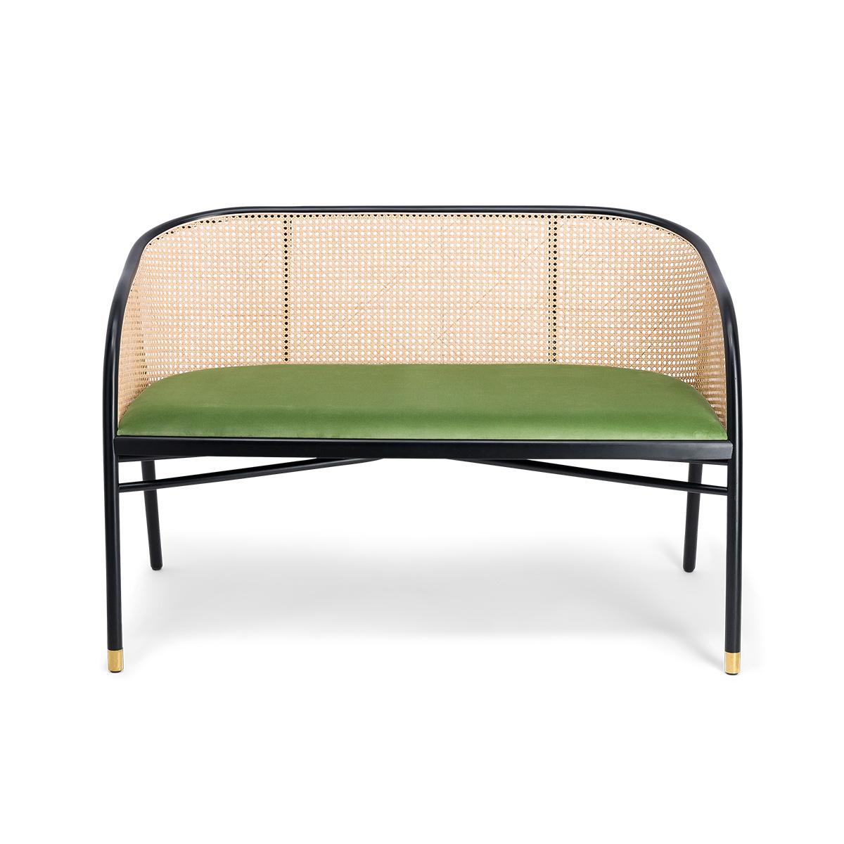 Cavallo Sofa, Almond Green Velvet with Black Lacquered Frame