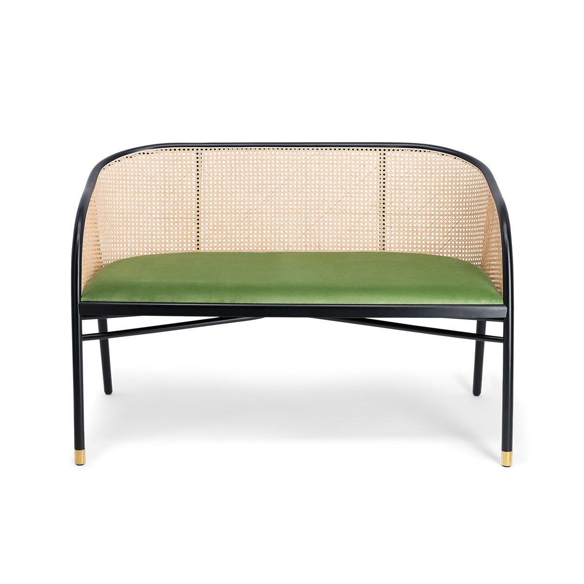 Cavallo Sofa, Almond Green Velvet with Black Lacquered Frame