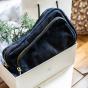 Andrea belt bag in navy blue leather