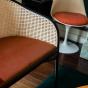 Cavallo Sofa, Brick Red Velvet with Black Lacquered Frame
