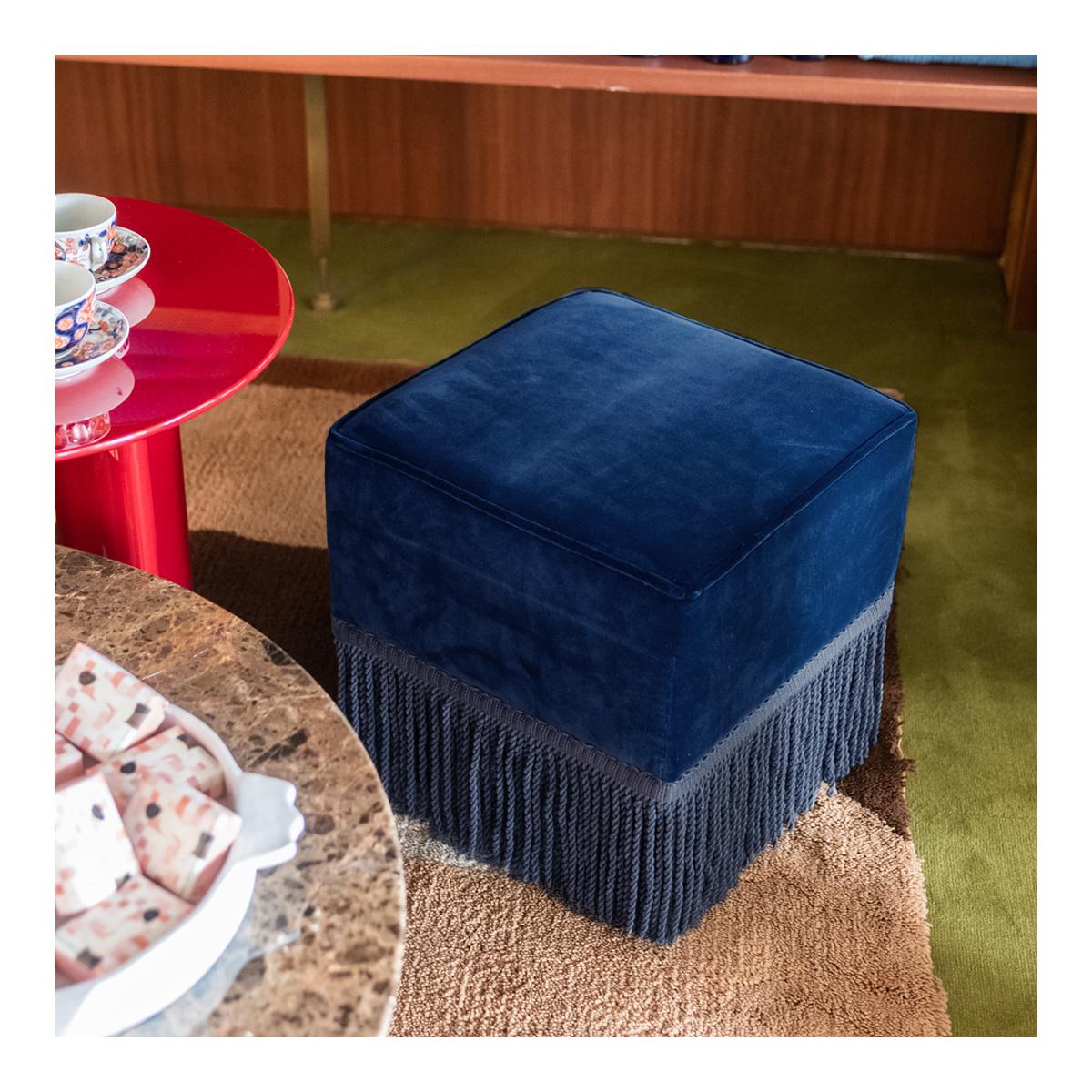 Fringed Footstool In Navy Blue Velvet Nonna The