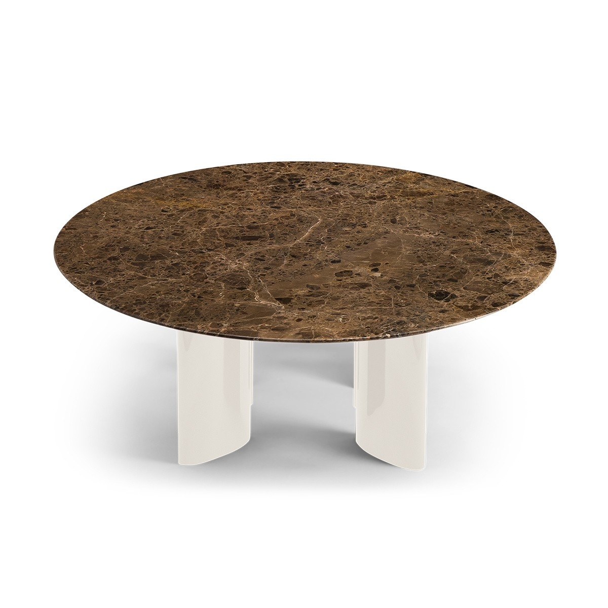 Carlotta coffee table, brown marble top and cream white lacquered legs
