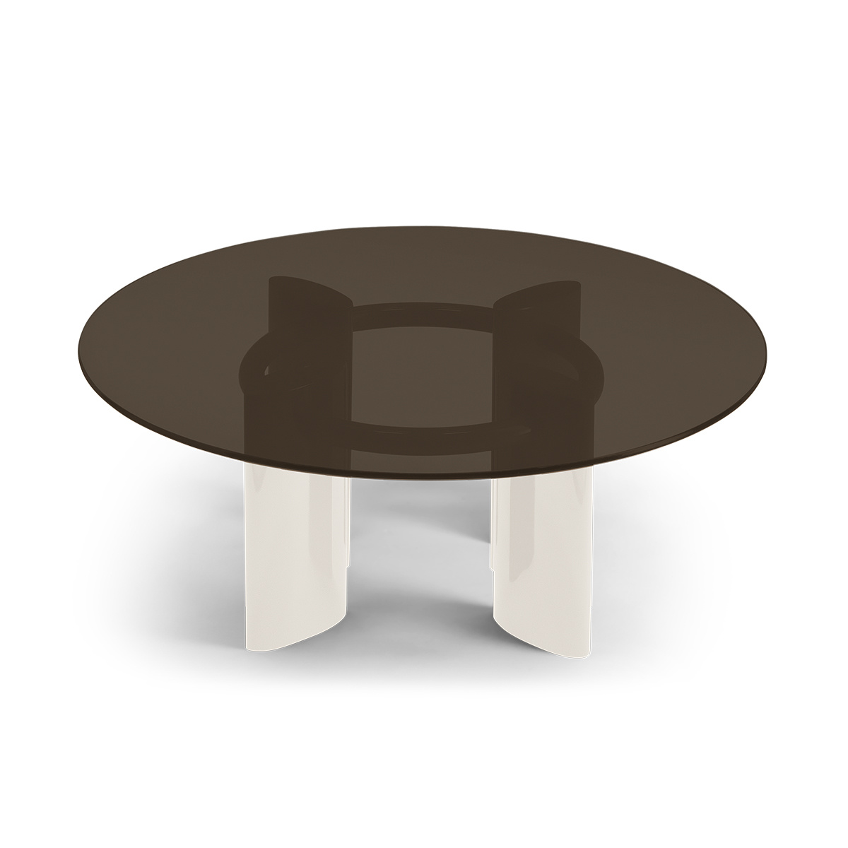 Carlotta coffee table, smoked glass top and cream white lacquered legs