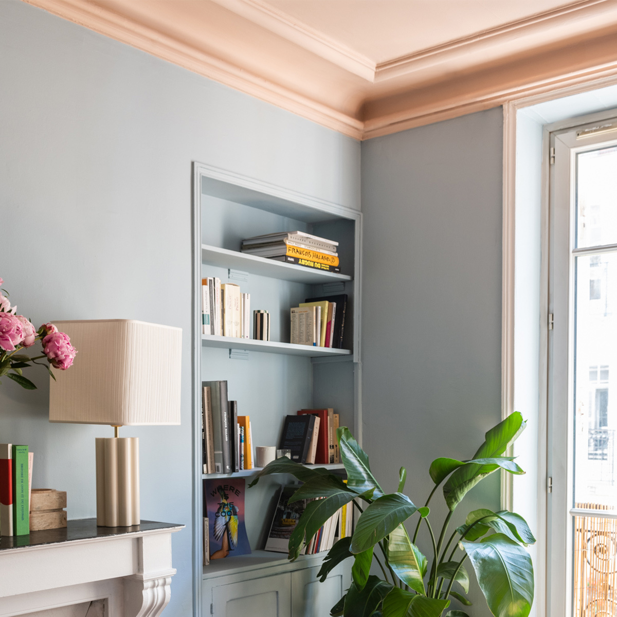 powder blue wall paint design for hall