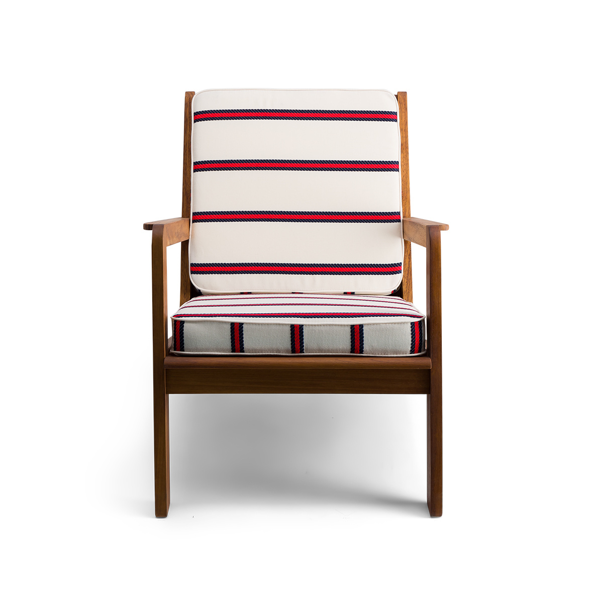 Gloria fireside chair brown wood, striped navy red Dedar fabric