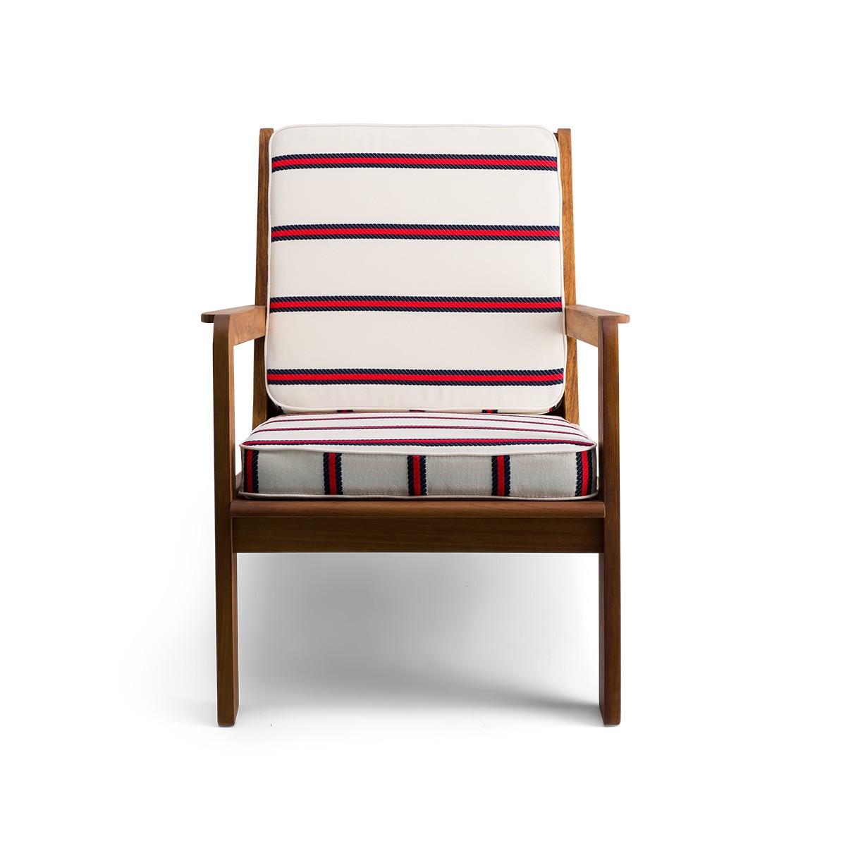 Gloria fireside chair brown wood, striped navy red Dedar fabric