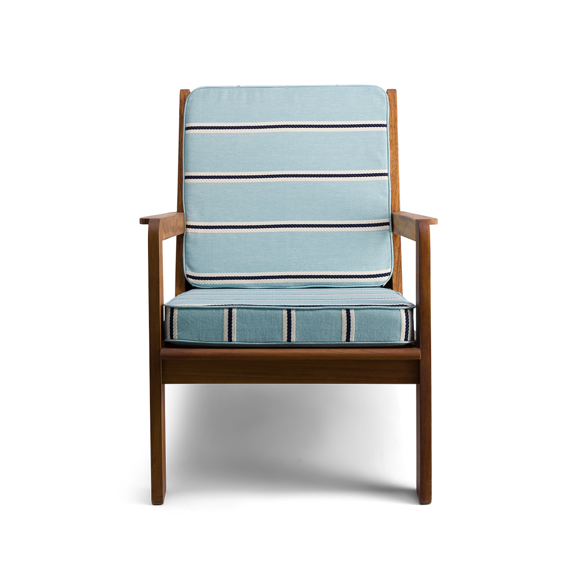 Gloria fireside chair brown wood, striped light blue Dedar fabric