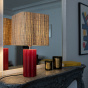 Gioia Table Lamp, Red and Rattan