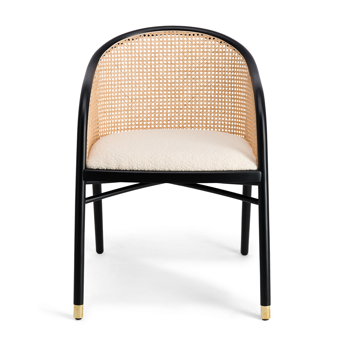 Cavallo Armchair, Cream White Curly Wool with Black Lacquered Frame