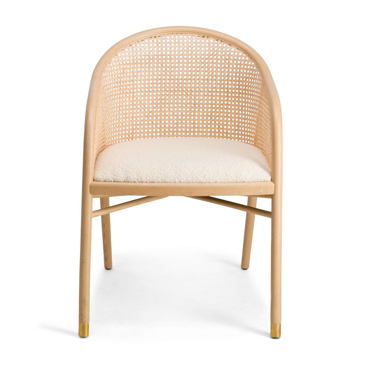 Cavallo Armchair, Cream White Curly Wool with Natrual Lacquered Frame