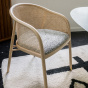 Cavallo Armchair, Black and White Curly Wool with Natural Lacquered Frame