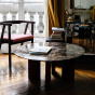 Carlotta Coffee Table, Brown Marble Top and Ash Wood with Iroko Finsh Legs