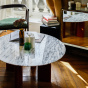 Carlotta Coffee Table, White Marble Top and Ash Wood with Iroko Legs