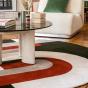 Roma Round Rug, Green and Brick