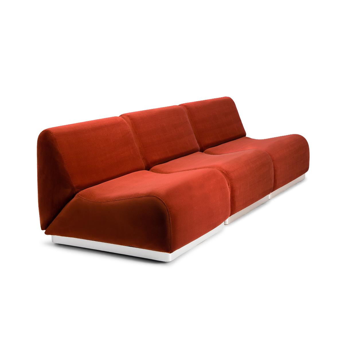Rotondo Modular Sofa in Terracotta Velvet