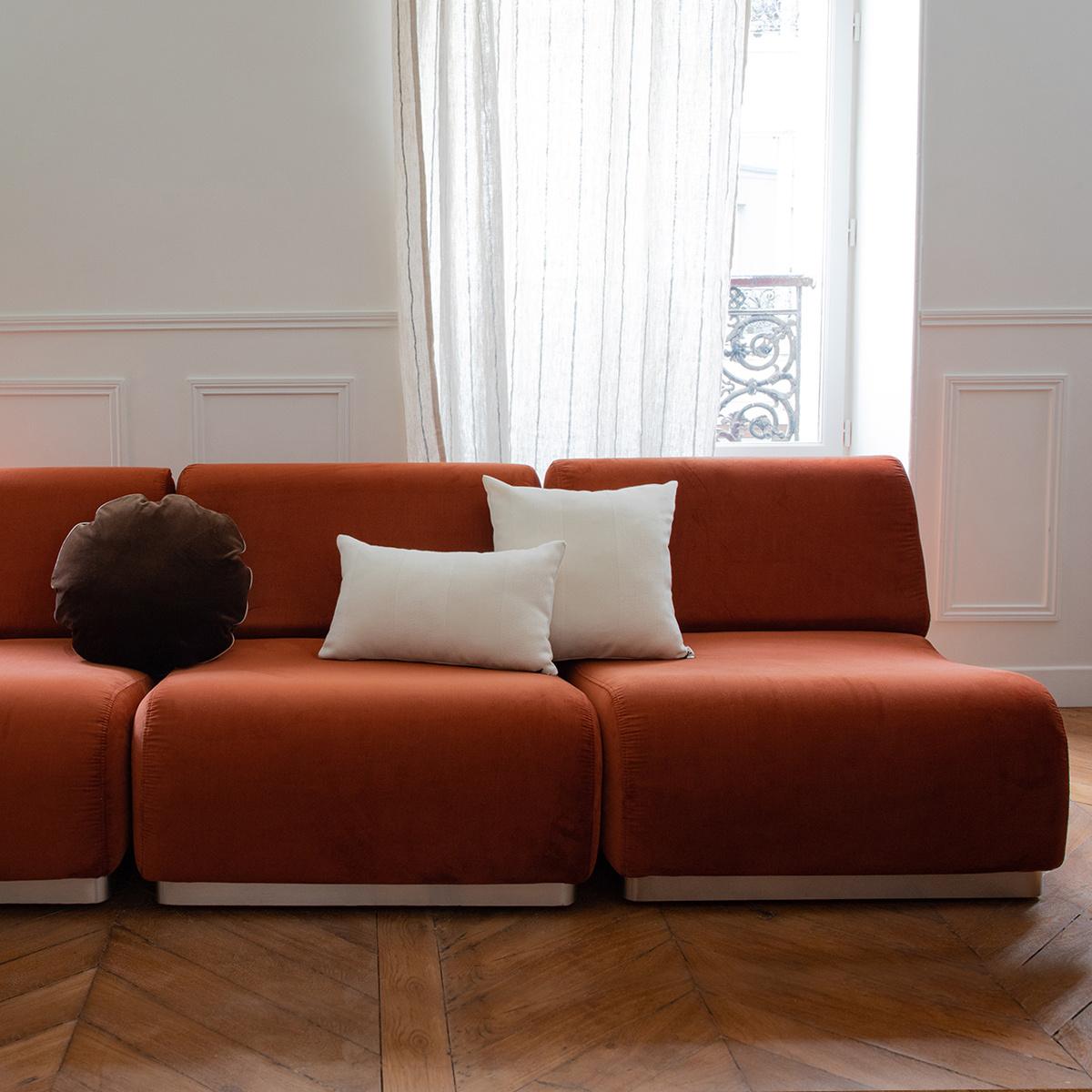 Terracotta Velvet Modular Sofa Rotondo The Socialite Family
