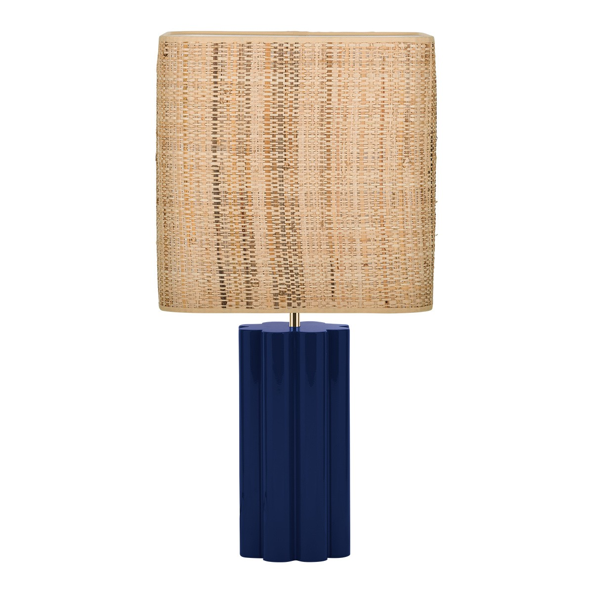 Gioia Table Lamp, Blue and Rattan