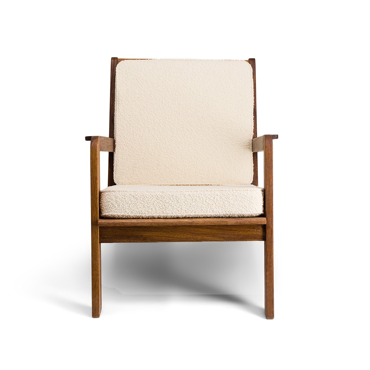 Gloria Fireside Chair in Brown Wood with White Curly Wool