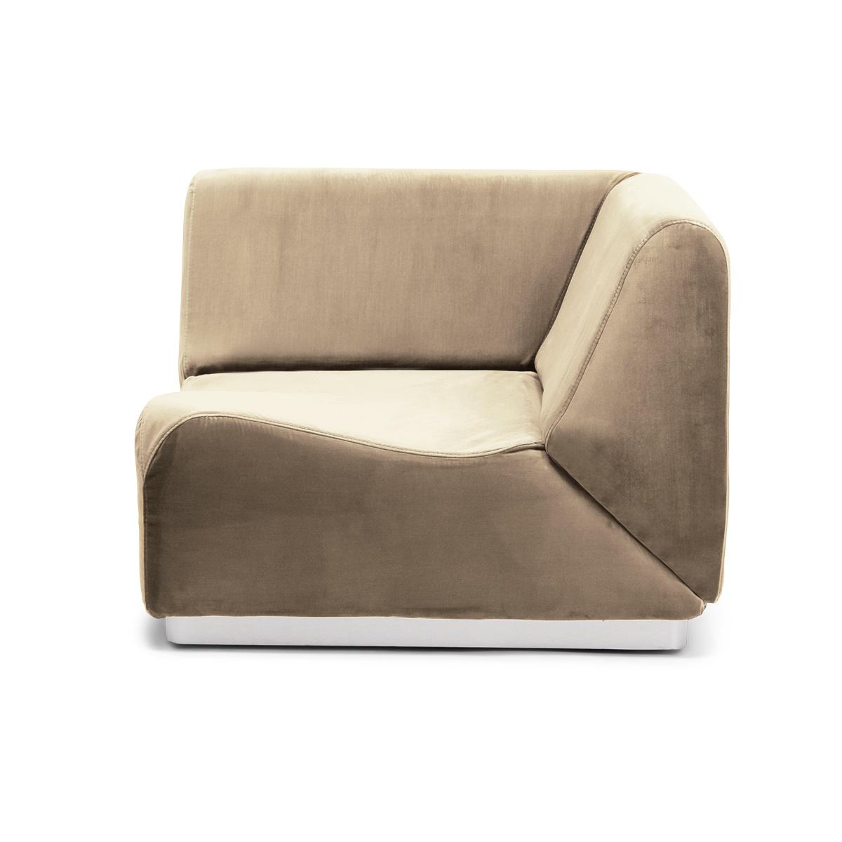 Rotondo Corner Fireside Chair in Camel Velvet