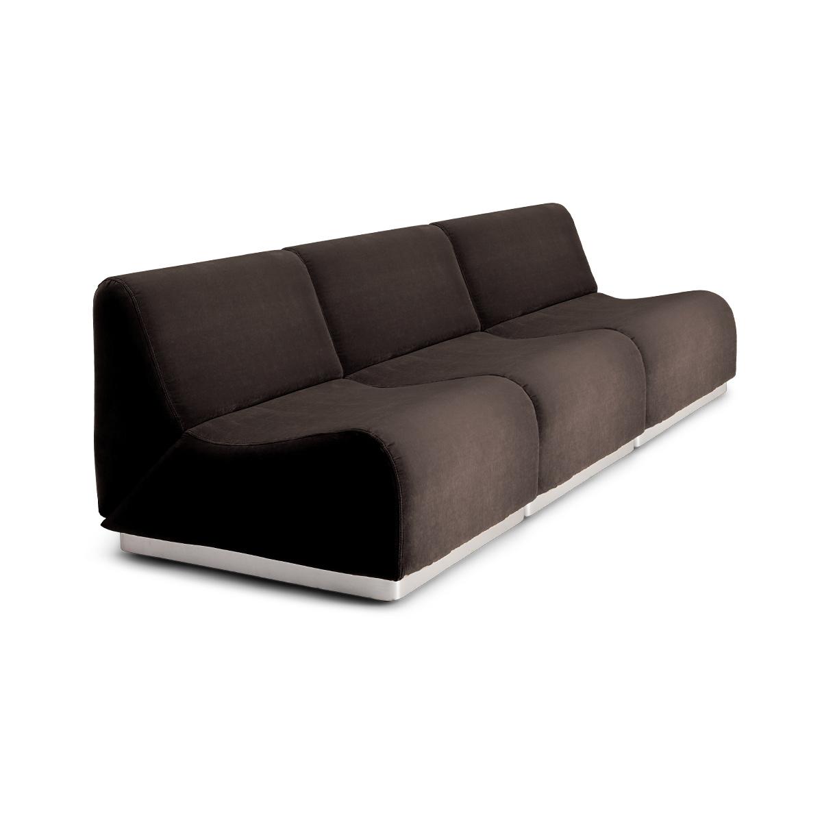 Rotondo Modular Sofa in Taupe Velvet