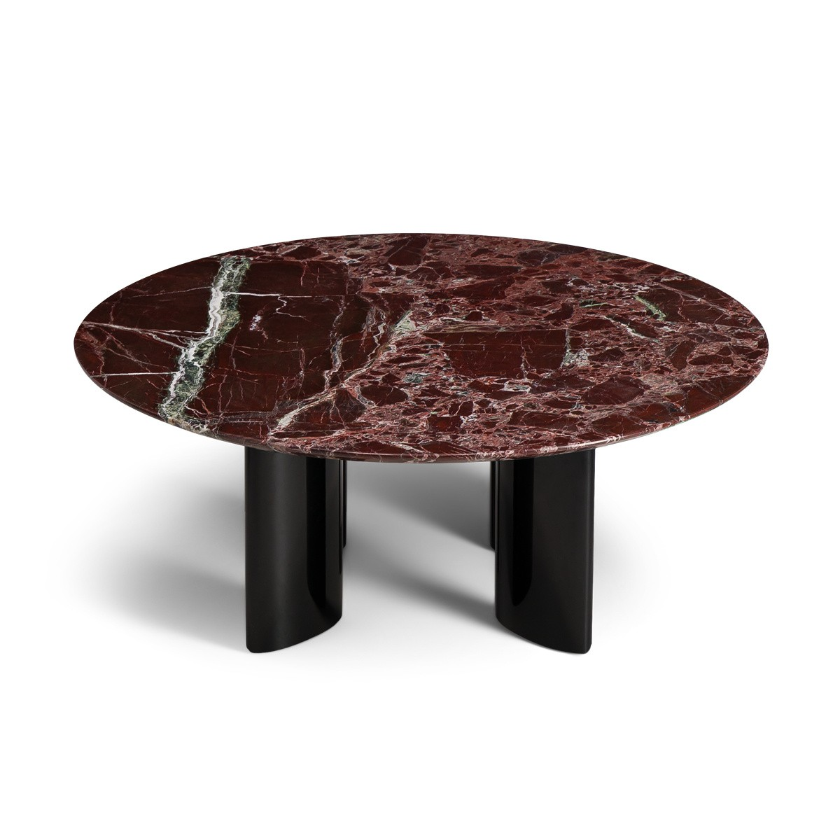 Carlotta Coffee Table, Black Lacquered Legs and Red Marble