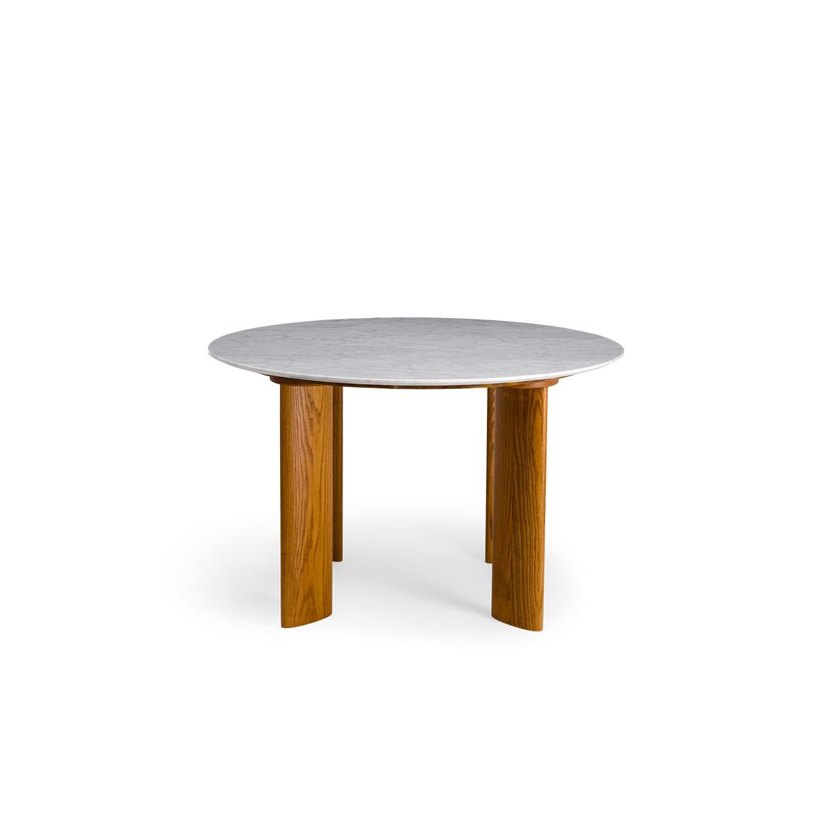 Carlotta Alta Dining Table White Marble and Iroko Finish Legs - 4 Seats