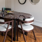 Carlotta Alta Dining Table Red Marble and Black Legs - 6 Seats