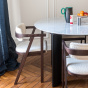Carlotta Alta Dining Table White Marble and Black Legs - 8 Seats