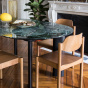 Carlotta Alta Dining Table Green Marble and Black Legs - 6 Seats