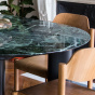 Carlotta Alta Dining Table Green Marble and Black Legs - 4 Seats