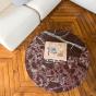 Carlotta Coffee Table, Iroko Finish Legs and Red Marble