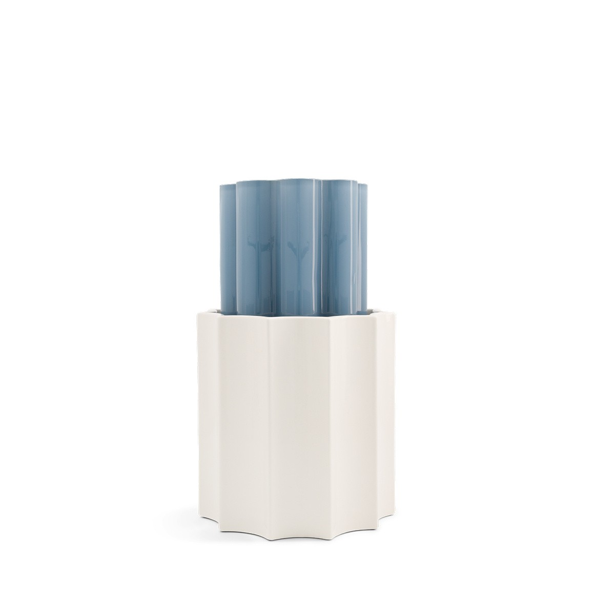 Storm Blue and White Duetto Vase