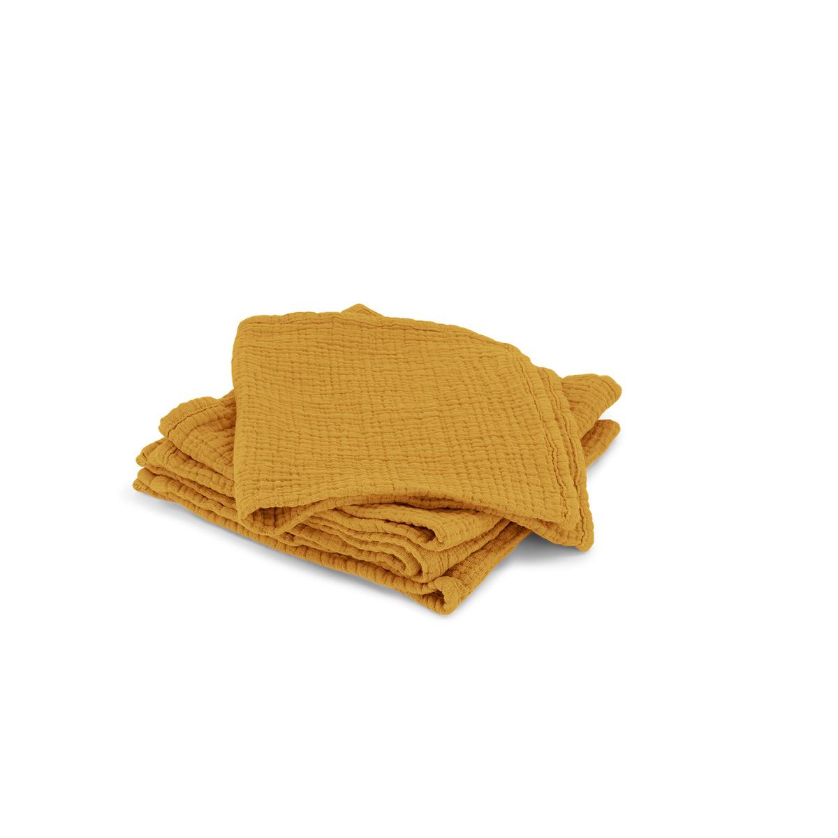 Set of 4 Allegra Towels in Mustard Cotton Gauze
